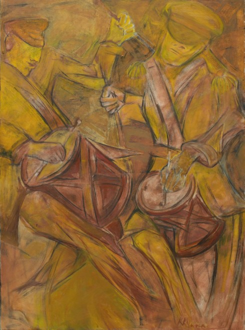 Krishen Khanna, Untitled (Bandwallas in Ochre), 2014