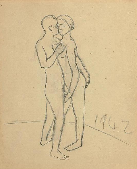 Francis Newton Souza, Untitled (couple), 1942