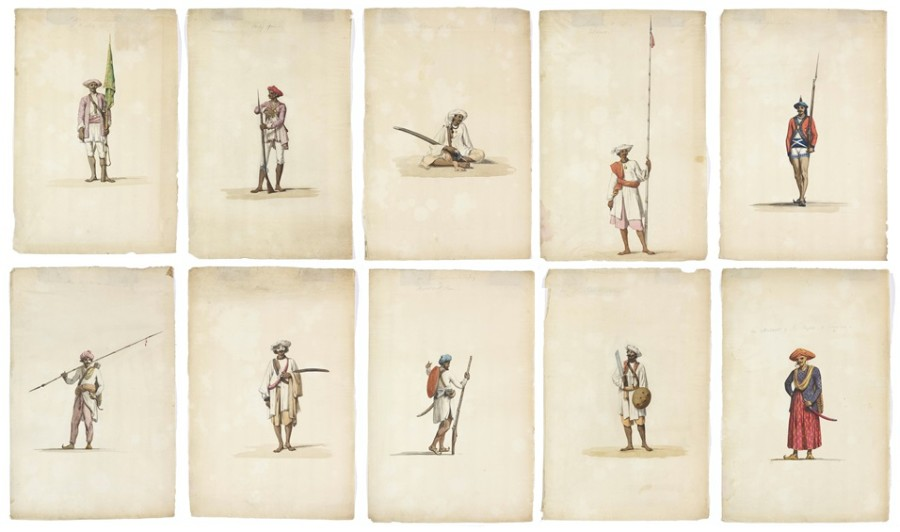Attributed to Thomas and William Daniell, A collection of ten watercolours depicting figues from the Indian army, circa 1793
