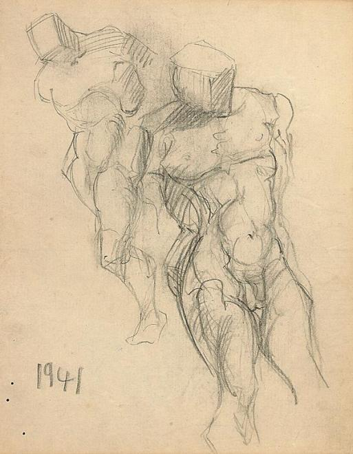 Francis Newton Souza, Untitled (Male nudes), 1941