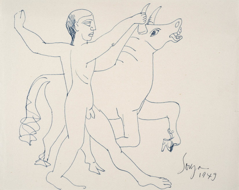 Francis Newton Souza, Untitled (Man and Bull), 1949