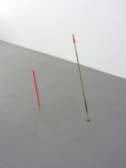 MARGRÉT H. BLÖNDAL, Untitled (watercolour, sticks, holes, plastic), 2012