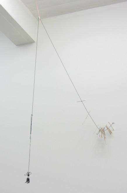 MARGRÉT H. BLÖNDAL, Untitled (string, holes, fabric, paint, plastic, flat-sticks, tape, translucent), 2012