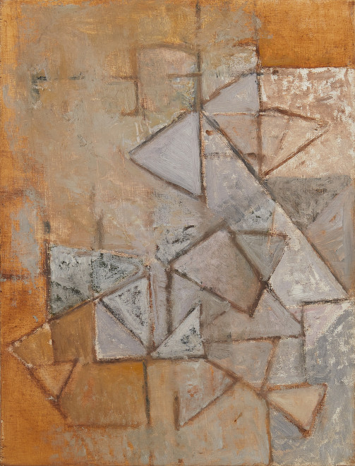 Wendy Pasmore, Triangular Motif, Lilac and Ochre, 1956