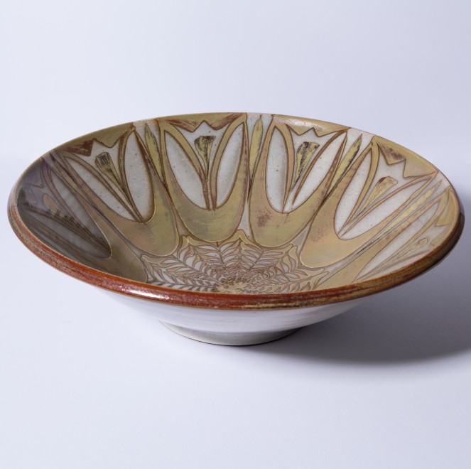 An Aldermaston Pottery flared bowl with lustre