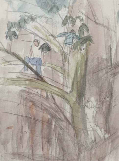 Figures Climbing a Tree