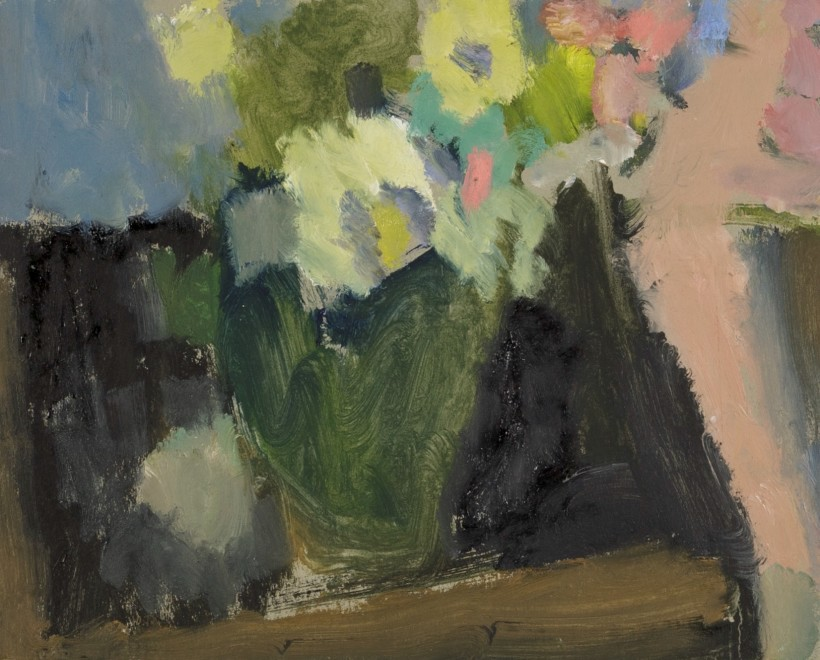 Green Vase with Flowers