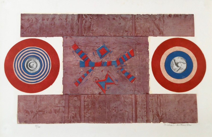 Two Circles, Red, Blue and Brown (S.155)