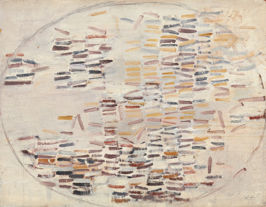 Wendy Pasmore, Oval Motif, Maroon, Ochre and Lilac, 1958