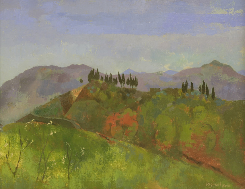 Mountain Landscape with Cypress Trees, Italy