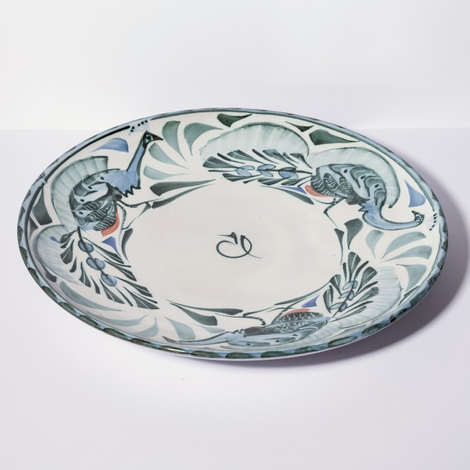 Large plate with peacocks