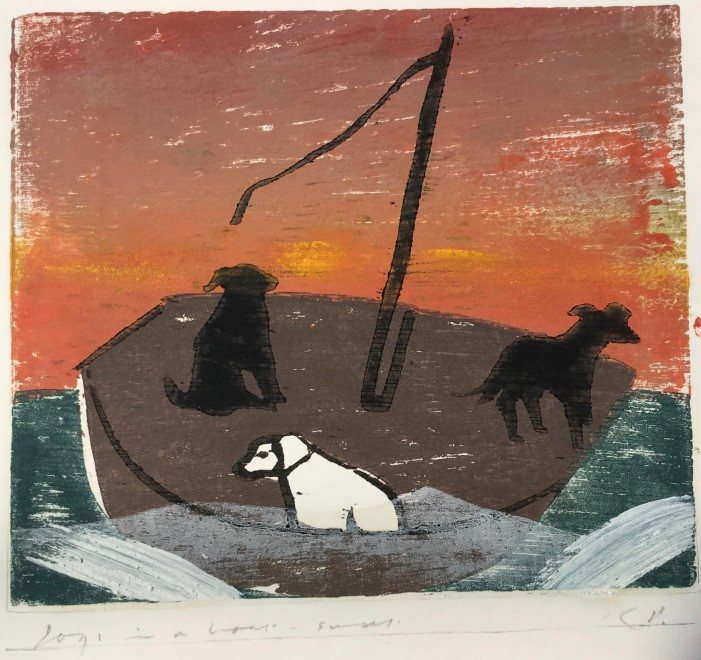 Dogs in a Boat, Sunset