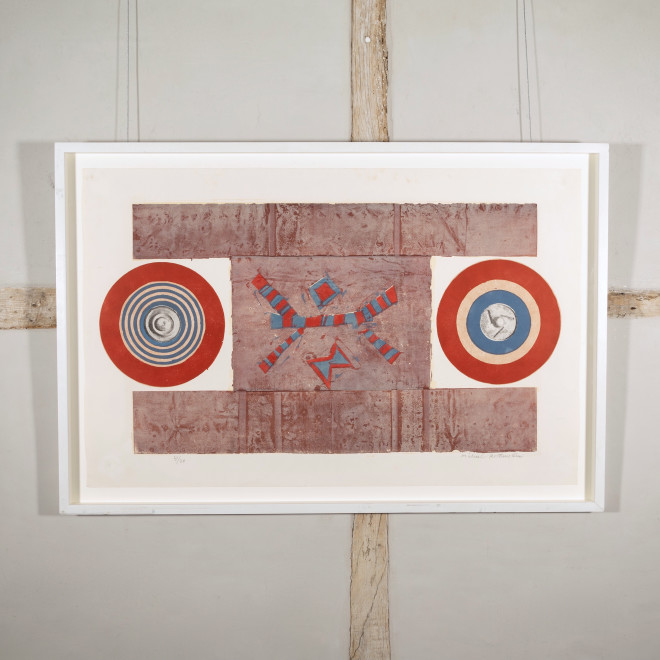 Two Circles, Red, Blue and Brown