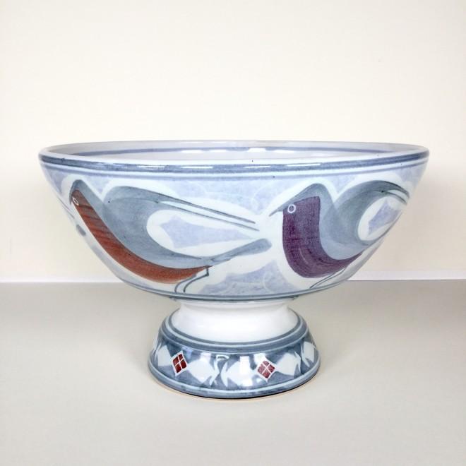 Large pedestal bowl with birds
