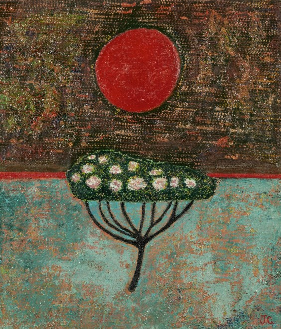 Flowering Tree and Harvest Moon (29th March)