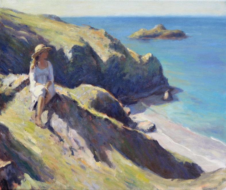 Edward Noott RBSA  Cliff tops, Cornwall