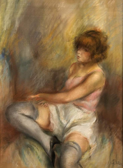 Young woman dressing
