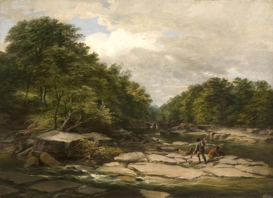 Fishermen in a river landscape