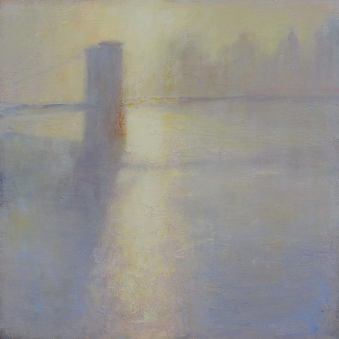 Edward Noott RBSA  Brooklyn Bridge under fog