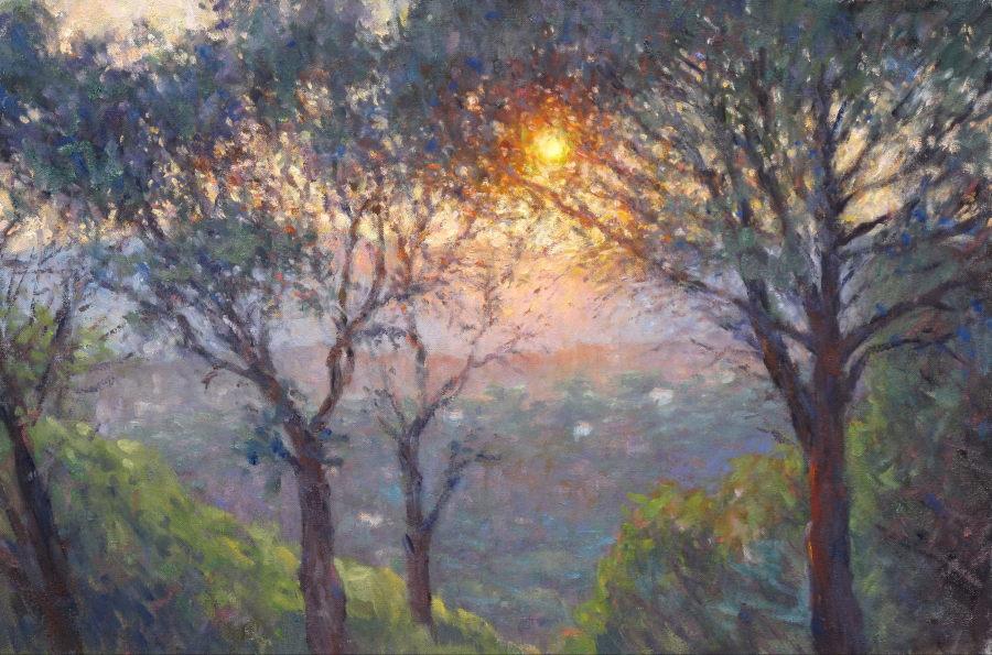 Edward Noott RBSA  Setting sun, Provence