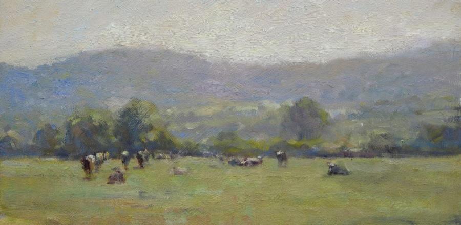 Edward Noott RBSA  Cattle grazing near Little Malvern