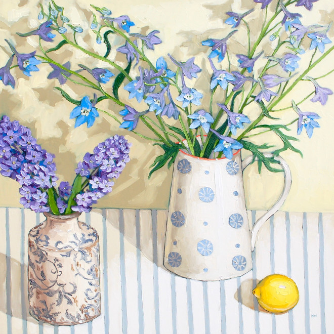 Halima Washington-Dixon, Garden hyacinths with delphiniums