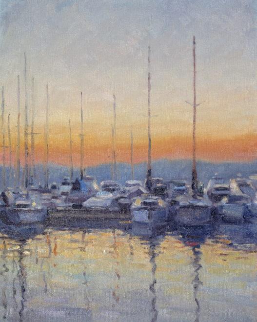 Edward Noott RBSA  Boats at St Tropez