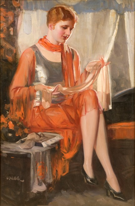 Seated lady with stocking