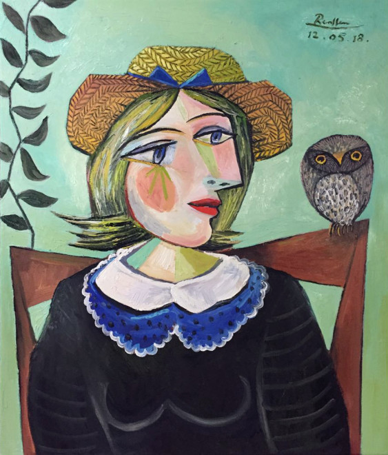 Seated woman and little owl