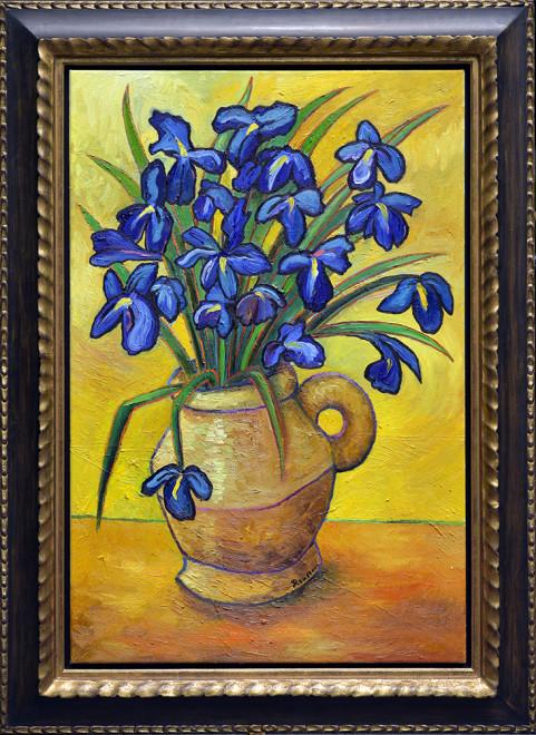 Size M/L   Blue Irises in a vase