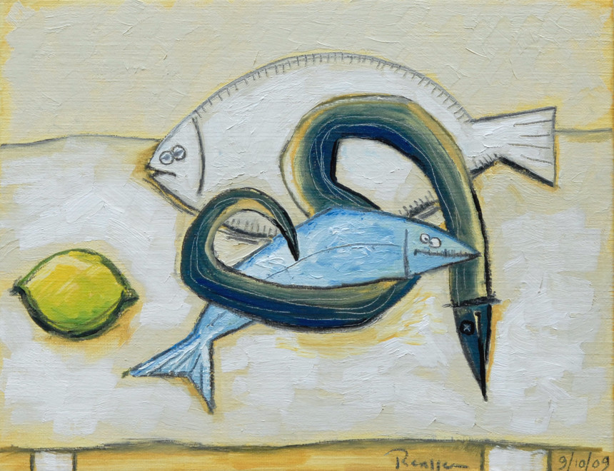 Fish and a lemon on a table