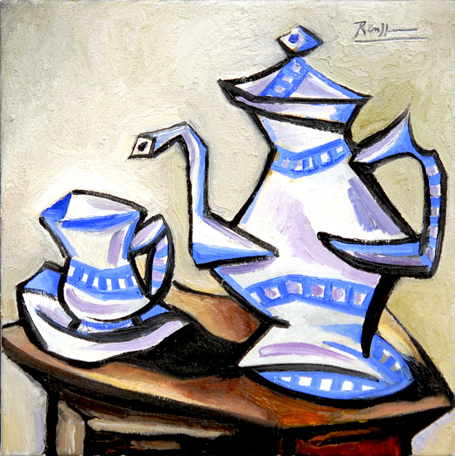 Teapot with cup and saucer II