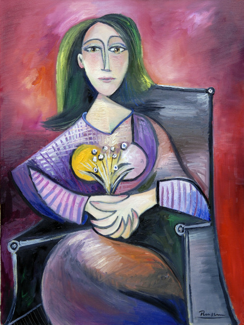 Seated woman with flowers