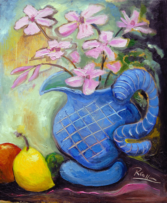 Fruit and pitcher with flowers
