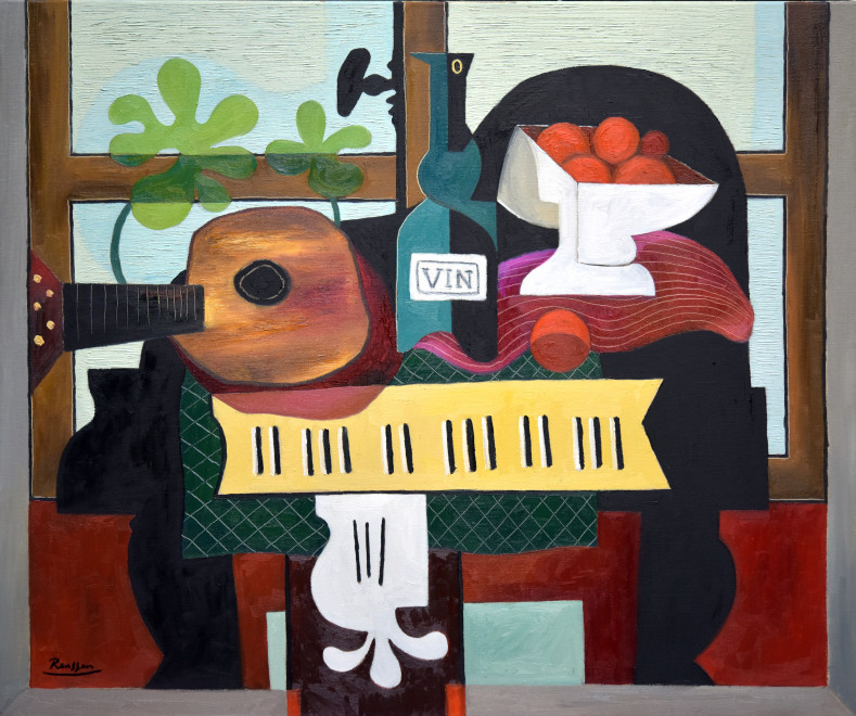 Guitar, bottle and oranges on a piano