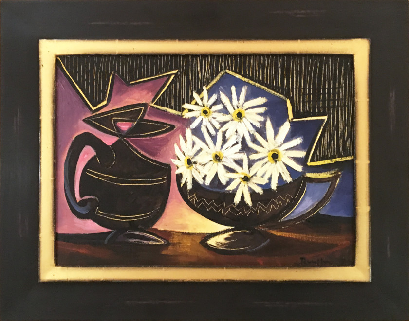 White flowers in a black pot