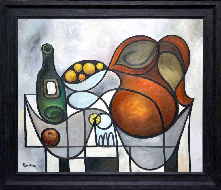 Pitcher, oranges, bottle and glass