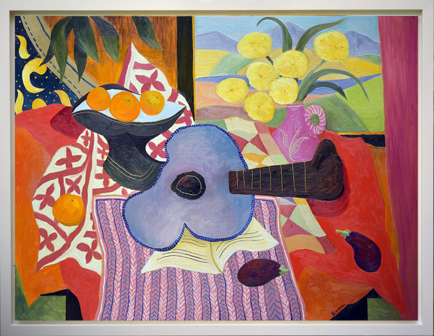 Size L | Guitar, fruitbowl and flowers in a vase