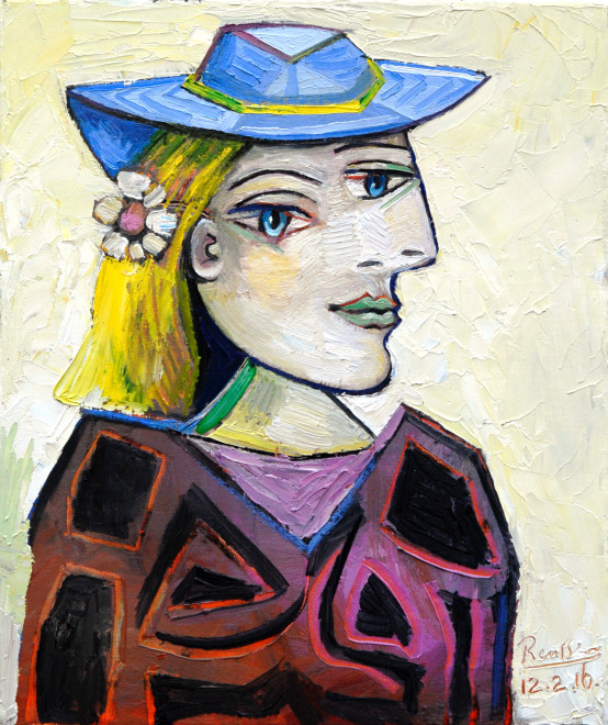 Woman in a light blue hat