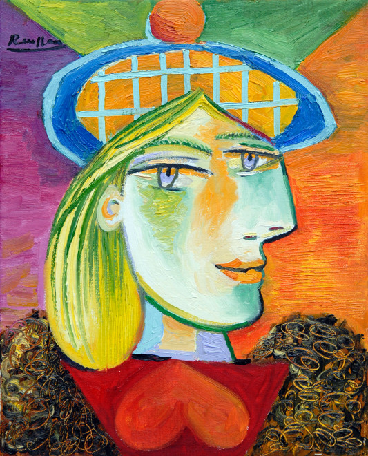 Young girl in a checkered beret