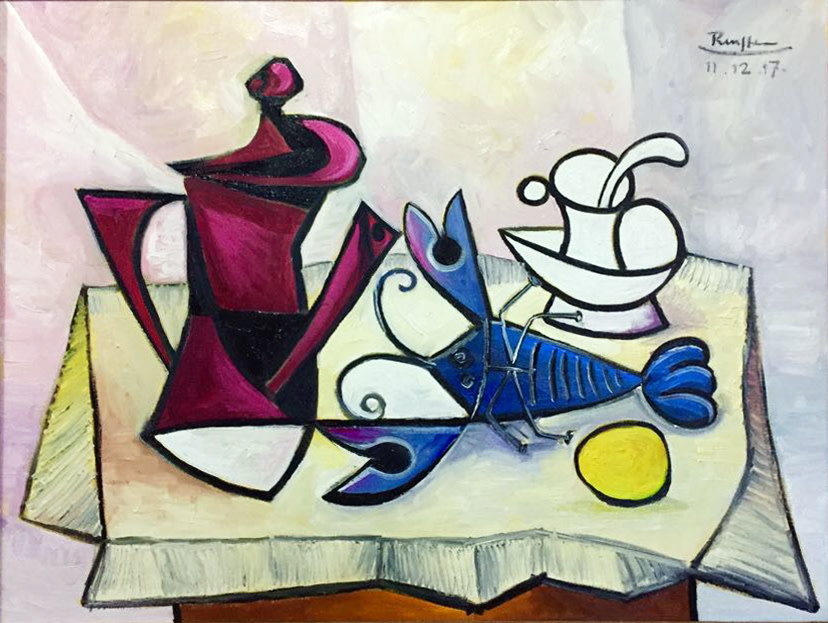 Coffee pot, lobster, cup and saucer and lemon