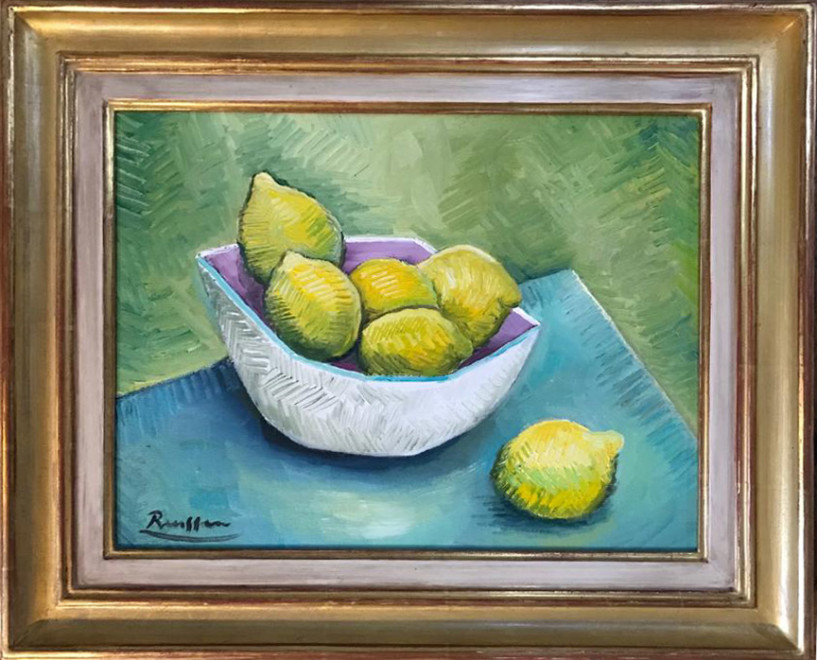 Lemons in fruit bowl