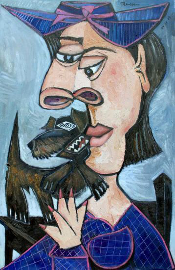 Woman with a dachshund