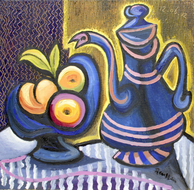Fruit dish and coffee pot on a table