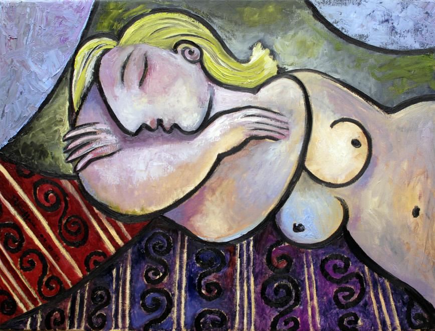 Sleeping nude on a sofa