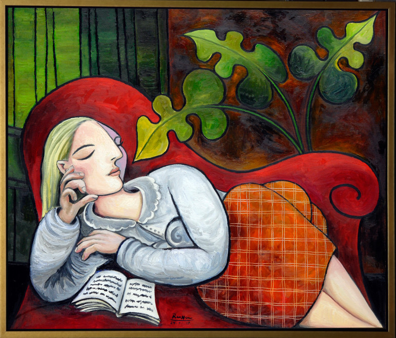Woman with book on couch | edition of 10