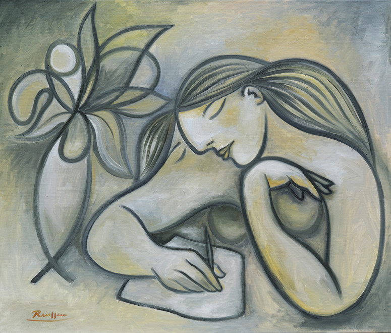 Size L | Woman writing a letter