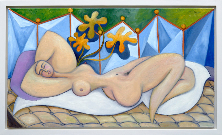 Reclining nude with plant
