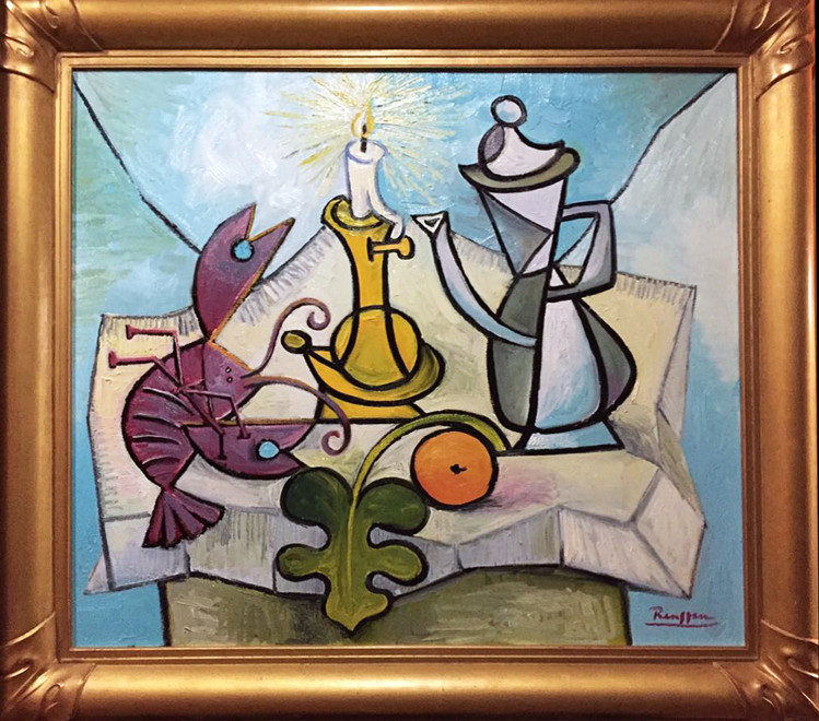 Lobster, coffee pot, orange and candle on a table