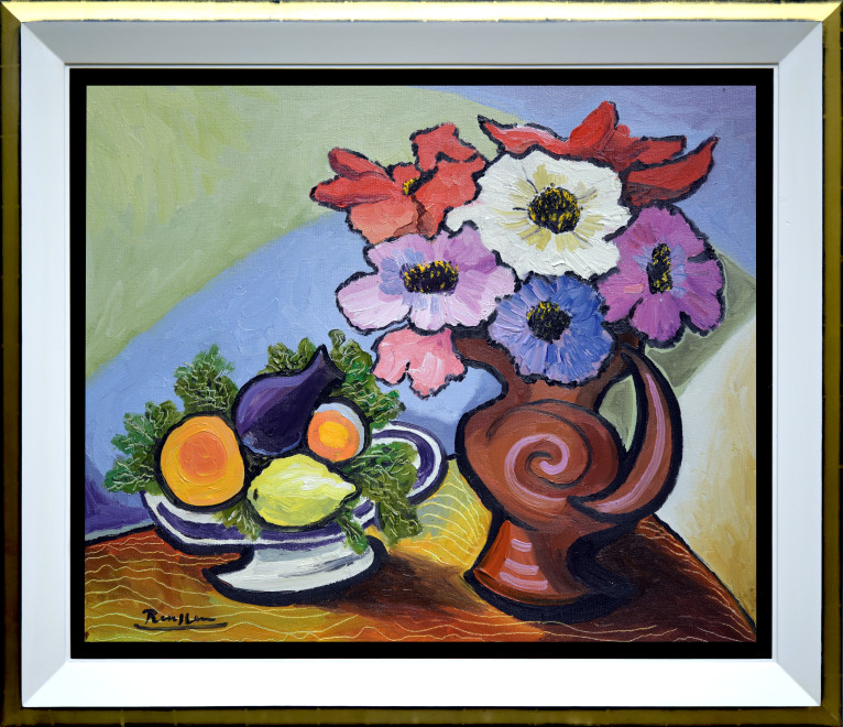 Size M | Flowers and fruit on a table